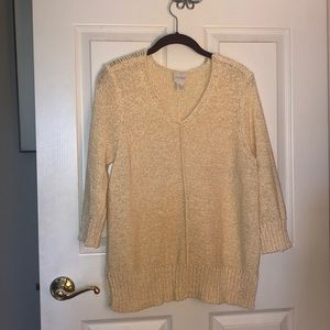 Chico's sz 1 pale yellow summer sweater
